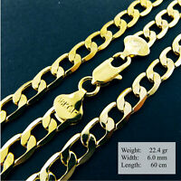 Necklace Pendant Chain Real 18k Yellow G/F Gold Solid Curb Link Design 23.6""