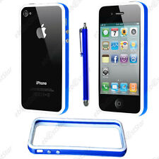 Housse Coque Etui Bumper Bleu / Blanc Apple iPhone 4S 4 + Stylet