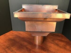 """Gutter-Leader-head-Collector-Box-Down-spout-Scupper-Box-Copper-3"""" oval  outlet"""
