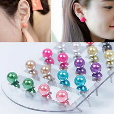 12 Pairs New Women Fashion Party Color 6MM Pearl Round Ear Stud Earring Set