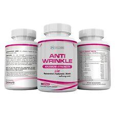 (3) Anti-Wrinkle Supplements 180 capsules w/ Hyaluronic, Alpha Lipoic Acid, DMAE
