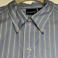 Allison & Co Men's Short Sleeves Button Up Shirt XL Blue White Vertical Stripes