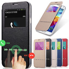 Slim Window View Leather Flip Stand Smart Case Cover Skin For Samsung Galaxy