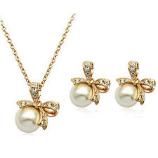 Bridal Jewellery Set White Pearl & Gold Bow Knot Studs Earrings & Necklace S602