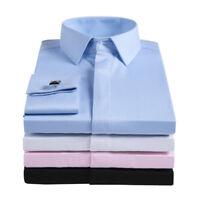 Mens Long Sleeve Shirts Luxury Slim Fit Formal Dress French Cuff Cufflinks S6405