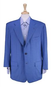 Kiton Recent Solid Light Blue Wool Partially Lined Summer Blazer Jacket 46S