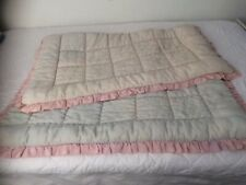 """Vintage Single quilted """"Eiderdown"""".Pale blue & pink,gorgeous, white lace cover"""
