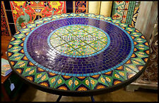 54'' Black Marble Dining Table Inlay Real Arts Creative Lapis Stone Decor H3937A