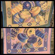 Vintage San Marcos Blanket Reversible Southwest Pottery