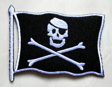 Skull Crossbones Pirate Flag Biker Embroidered Iron on Patch Free Shipping