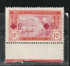 1915 French colony stamps, Ivory Coast, double OVPT +5c MH, SC B1a