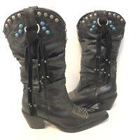 STEVE MADDEN 8 Black Studded Cowboy Boots Leather Western Slouch Fringe $186
