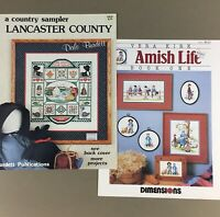 Lot of 2 cross stitch leaflet charts Amish Life & Lancaster County Sampler