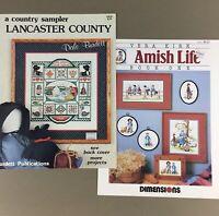 Lot of 2 cross stitch leaflet charts Amish Life & Lancaster County Sampler