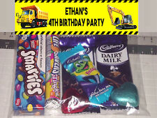 12 Personalised Birthday Party Loot Lolly Bags Construction Digger Dump Truck