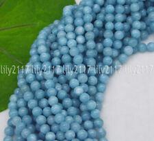 """Natural Pedra Preciosa 6/8mm Azul Larimar Contas Redondas padrão de água pérolas soltas 15"""""""