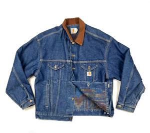 VTG Carhartt Aztec Blanket Lined Denim Trucker Jacket USA Made Corduroy Collar L