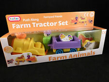 Colourful Push a Long Farm Tractor, Trailer, Farmer & 3 Animals Set - Great Gift