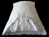 New PillowCases (2) Hand Embroidered Crochet Sateen Cotton Standard Basket White