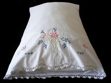 New PillowCases (2) Hand Embroidered Crochet Sateen Cotton Standard Basket White