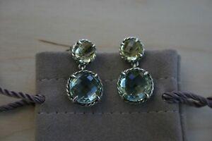 David Yurman CHATELAINE Double Drop Sterling Silver Earrings w/Citrine + Topaz