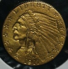 1911 Gold Two and a Half Dollars Indian G$2.50 Quarter Eagle Coin
