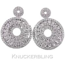 Diamond Earrings 2.20ct in 18ct White Gold for Pierced Ears Cluster Design