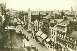 1917 postcard Elevated view of St Mary Street CARDIFF Glamorgan