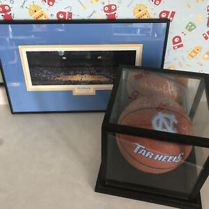 2003 North Carolina Signed-autographed Basketball And Roy Williams Print
