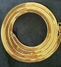 """14K GOLD HERRINGBONE CHAIN NECKLACE 24"""" FLAT LINK 19.8 Grams 4.5mm Aurafin Italy"""