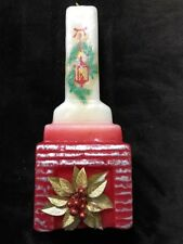 """Vintage Christmas Wax Candle Fireplace Shaped Gold Poinsettia Unburned 12"""" HIgh"""