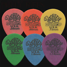 6 x Dunlop Tortex Small Teardrop Guitar Picks / Plectrums - 1 Of Each Type