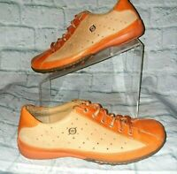 Born Womens 8.5 M  Orange & Tan LEATHER Lace Up Bowling Style Casual