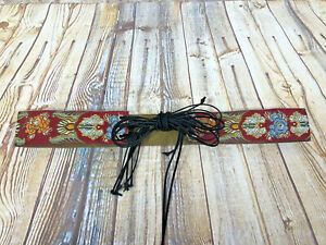 vtg boho embroidered textile tie belt with suede fringe tie sz 64'' by 2'' L/M