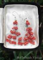 CORAL TWIG BEADS long tassel EARRINGS antique vintage natural salmon un-dyed 925