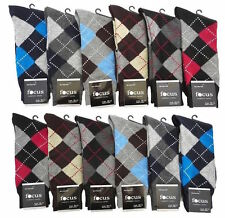 12 Pairs Mens Argyle Dress Socks #1Focus10-13 Bulk Multi Color Designer Size