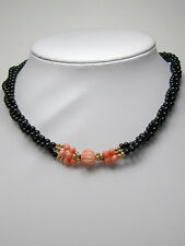 2331 Pink Coral, Onyx Necklace w/14k Solid 100% Yellow Gold Beads Length 16 inch