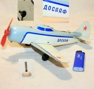 RUSSIAN DOSAAF ДОСААФ AIRPLANE WIND-UP TIN TOY 50-60's +Key Working