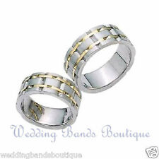Wedding Bands Ring Set Carved Interlaced 14k Two Tone Gold His Hers Matching