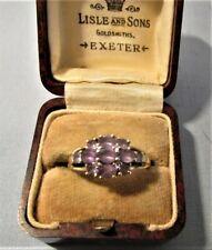 LOVELY UK HALLMARKED 9ct GOLD AMETHYST & DIAMOND CLUSTER LADIES RING 2.41 GRAMS