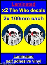 Laminated 2x The Who stickers B&w RAF Roundel Mod Target Vespa Scooter Decals