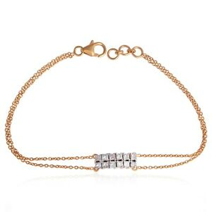 Natural 0.90 Ct SI/HI Square Diamond Double Chain Bracelet Solid 18k Rose Gold