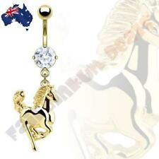 316L Surgical Steel 14kt Gold Ion Plated CZ Gem Belly Ring with Horse Dangle