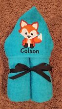 Personalized Fox Blue Hooded Towel