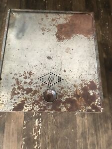 Vintage Hoosier Cabinet Metal Drawer Bread Box Tin Sliding Door Punch out design