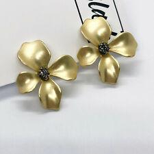 Matte Gold 3D Flower Petals Clip On Earrings Blogger UK Seller Floral Designer