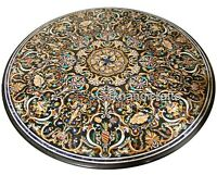60 Inches Mosaic Art with  Black Marble Dinning Table Top Round Coffee Table Top