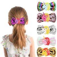 Unicorn Star Large Girls Kids Sequin Practical Rainbow Bowknot Hair Clips
