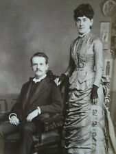 Antique Cabinet Photo-Couple,Man,Lady,Ele gant Fashion,Gloves,Props-Read ing,Pa