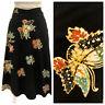 Vintage VTG 1970s 70s Black Boho Bohemian Patterned Wrap Skirt